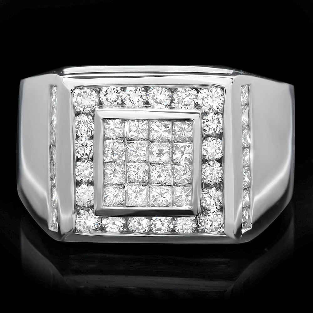 14k White Gold 2.85ct Diamond Mens Ring