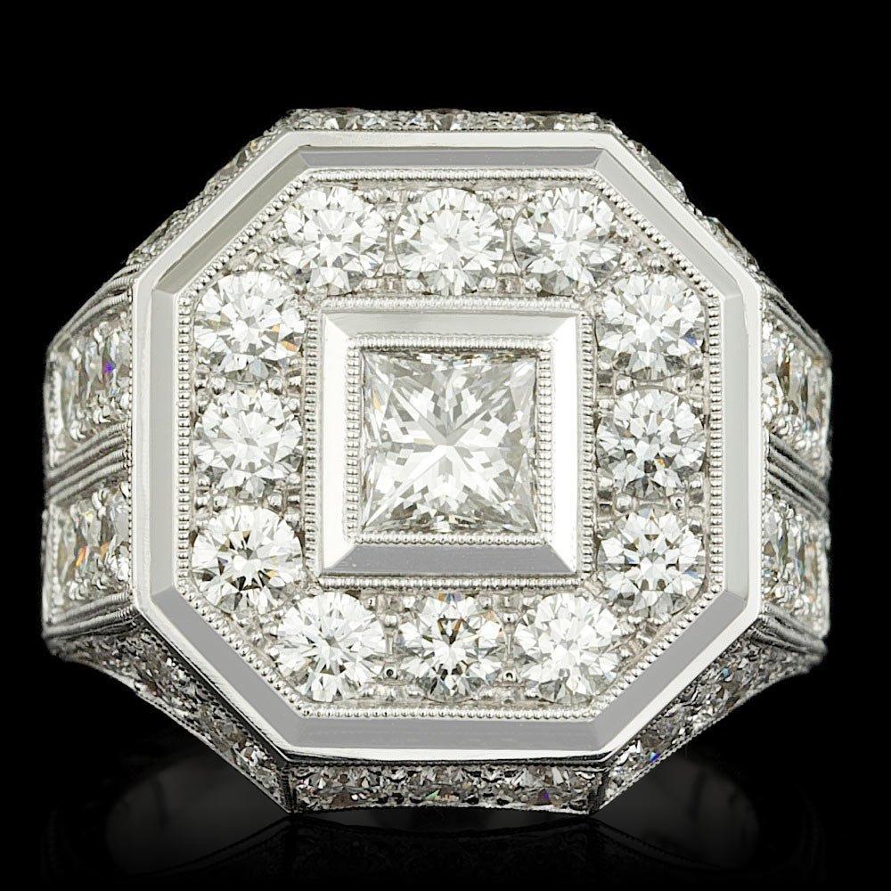 GIA/UGS Certified 18k Gold 6ctw Diamond Mens Ring
