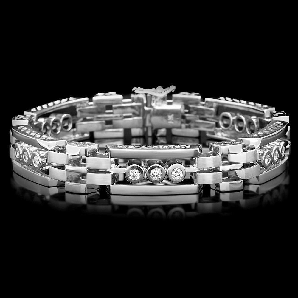 14k White Gold 1.20ct Diamond Mens Bracelet