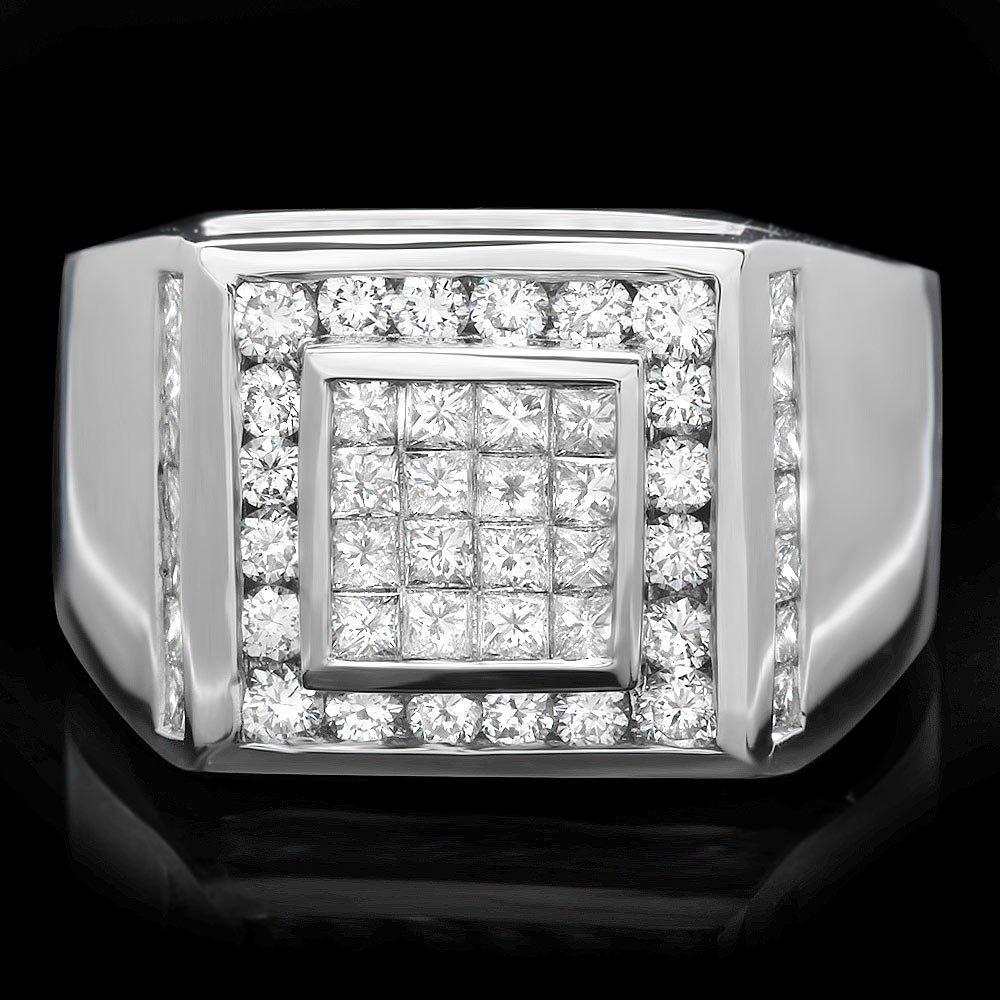 14k White Gold 2.85ct Diamond Mens Ring