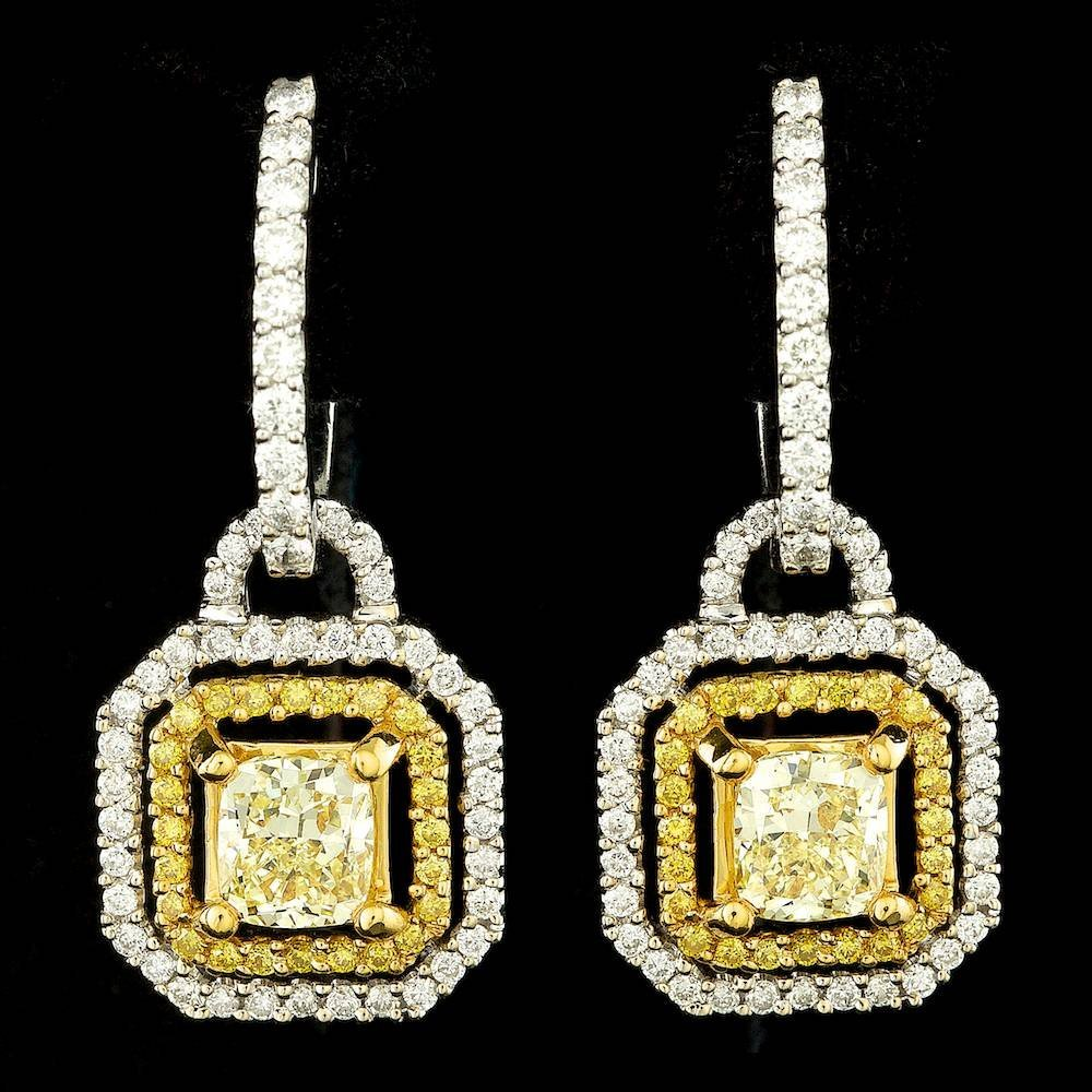 18k Multi-Tone Gold 2.27ct Diamond Earrings