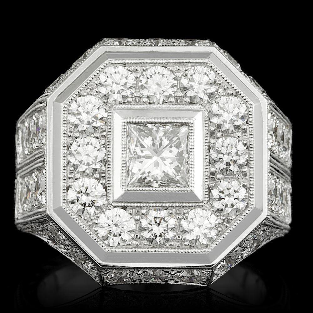 18k White Gold 6.6ct Diamond Mens Ring