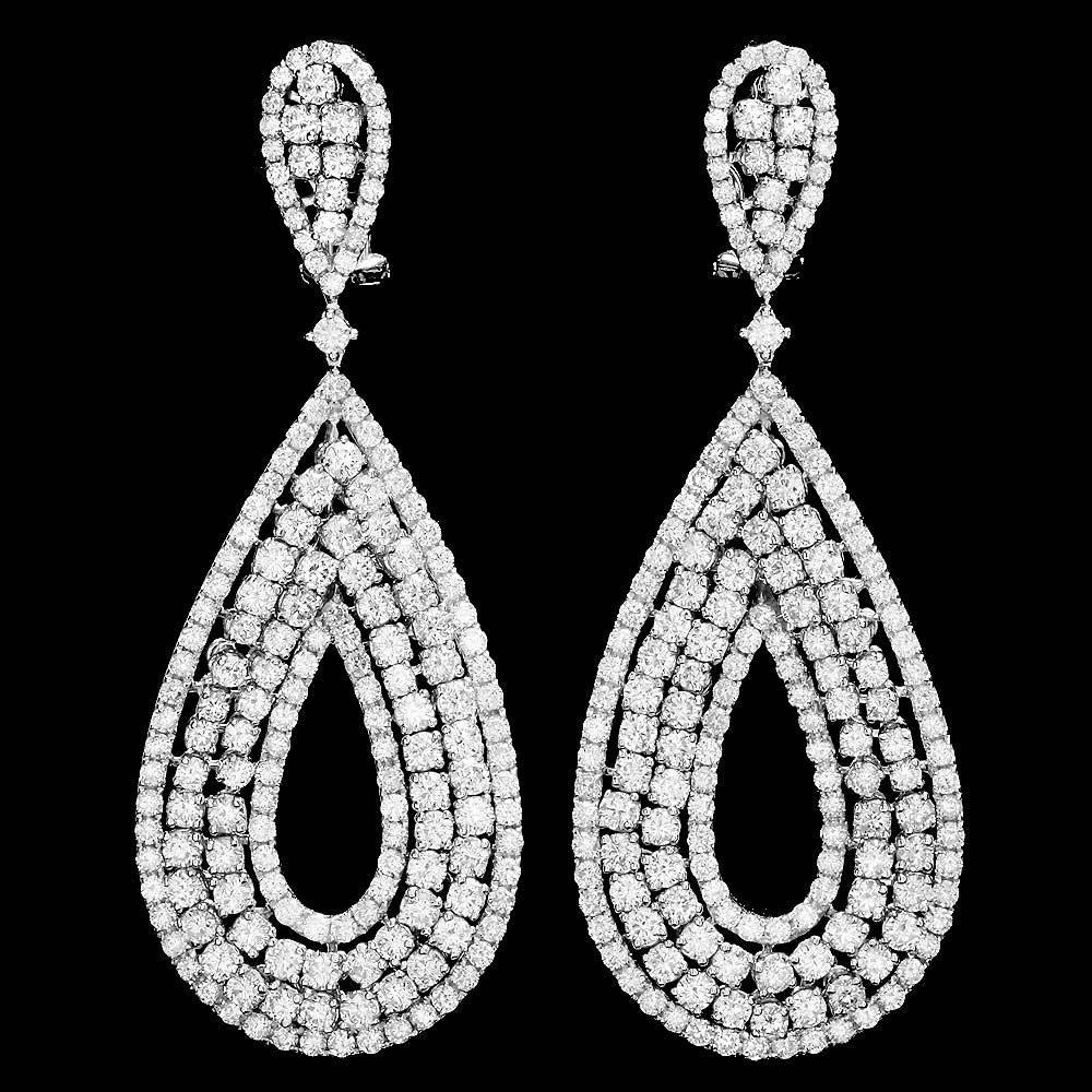 18k White Gold 12.60ct Diamond Earrings
