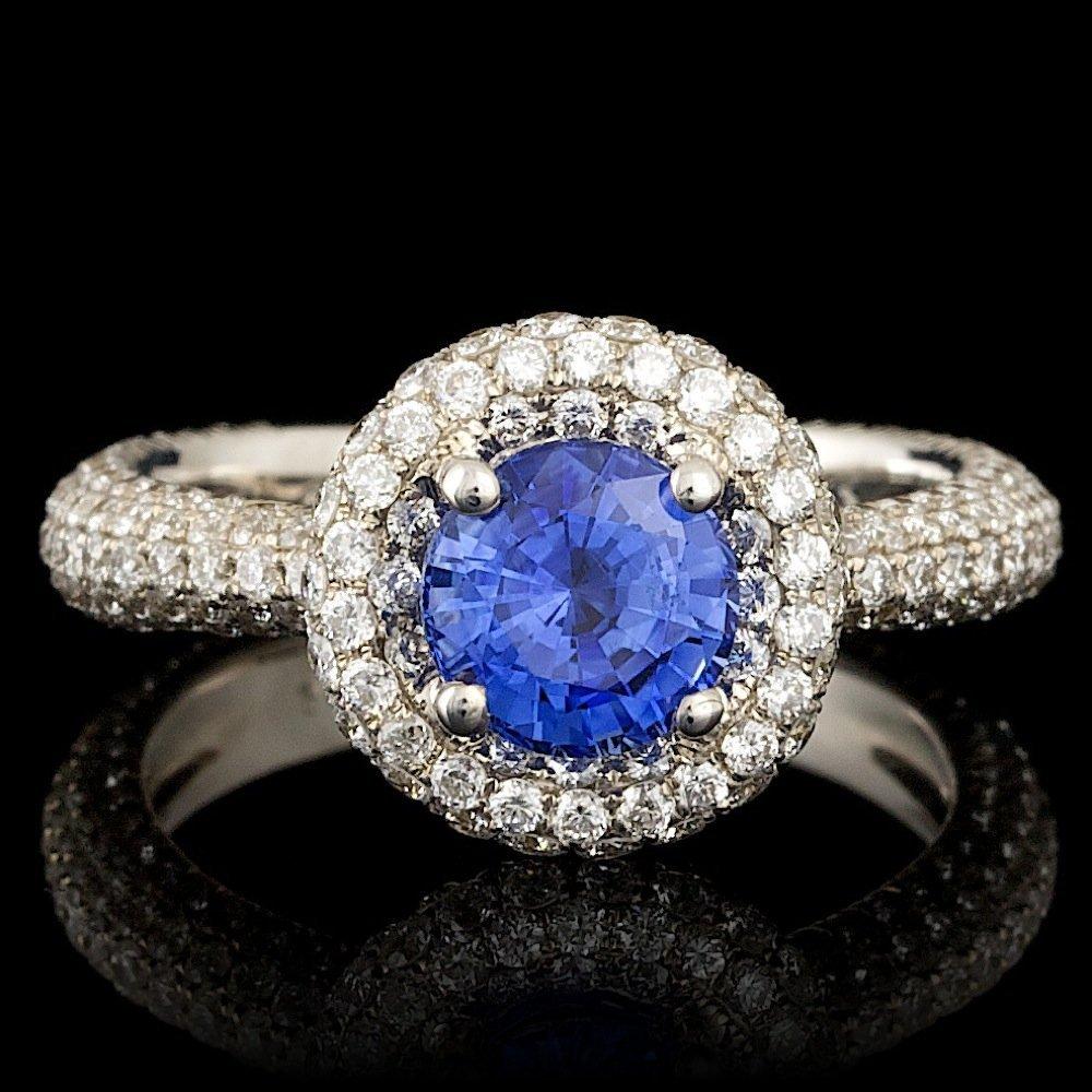 18k Gold 1.50ct Sapphire 1.75ct Diamond Ring