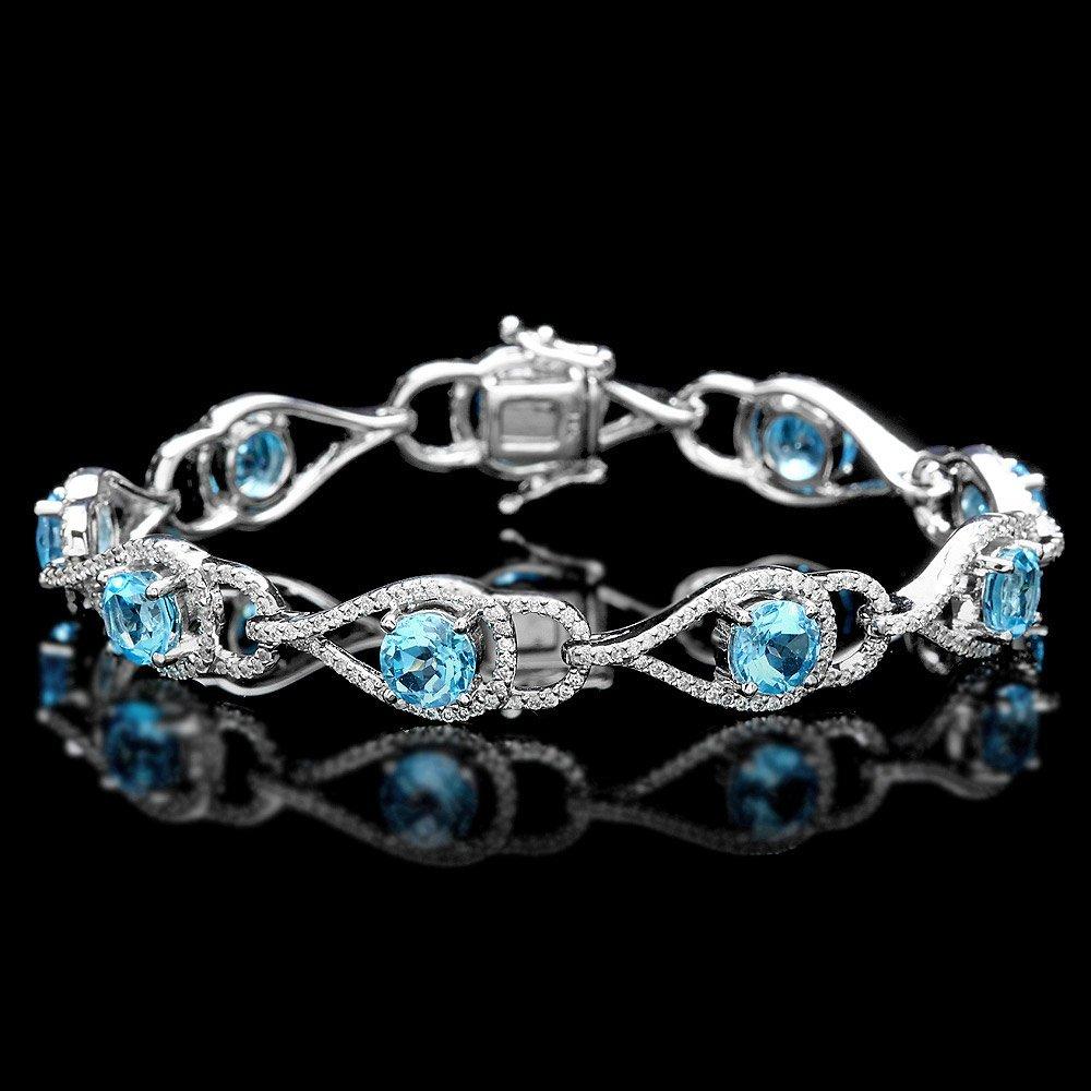 14k Gold 1.60ct Diamond 9.00ct Topaz Bracelet