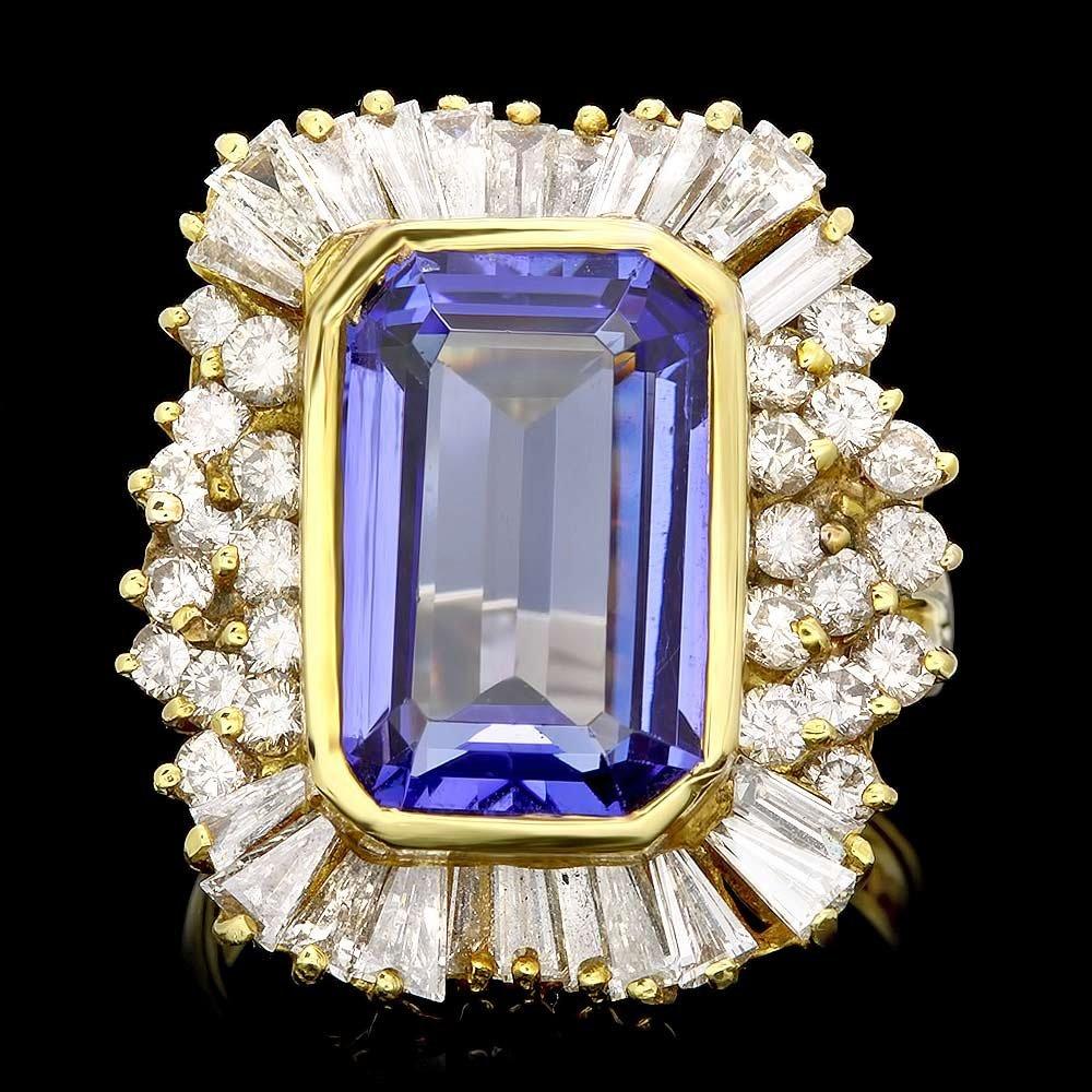 18k Gold 7.50ct Tanzanite 2.65ct Diamond Ring