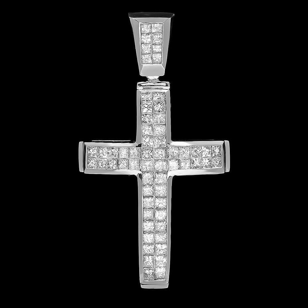 14k White Gold 4.05ct Diamond Mens Pendant