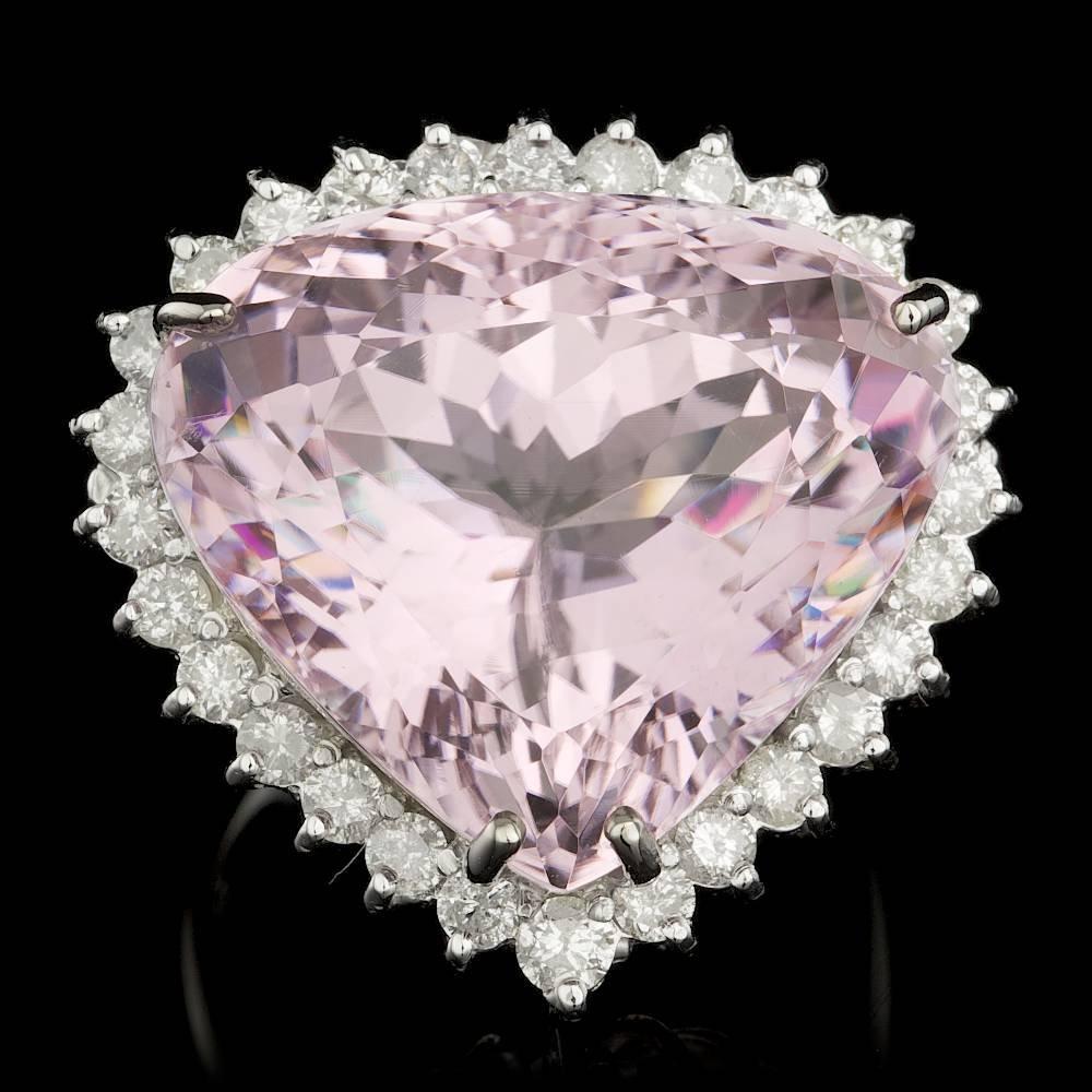 14k Gold 30.00ct Kunzite 1.15ct Diamond Ring