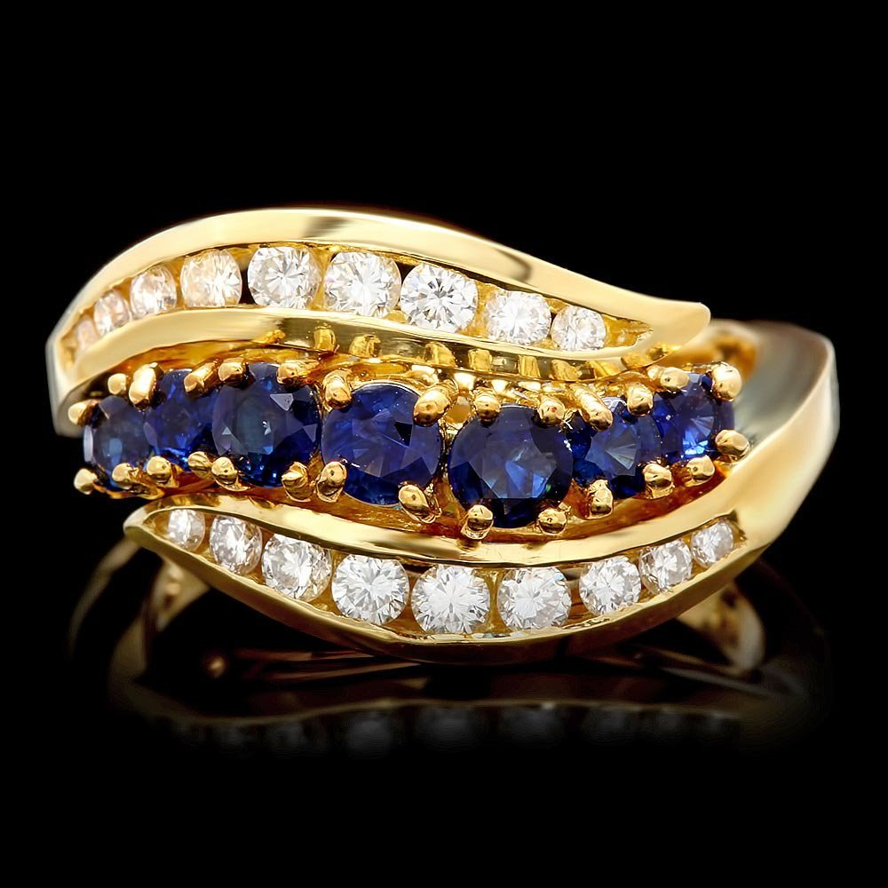 18k Gold 1.00ct Sapphire 0.60ct Diamond Ring