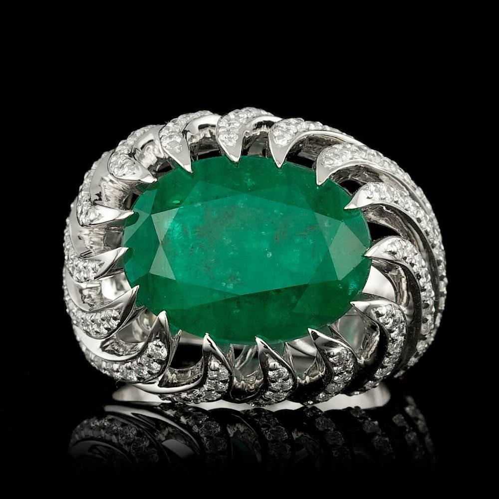 White Gold 7.50ct Emerald 0.70ct Diamond Ring