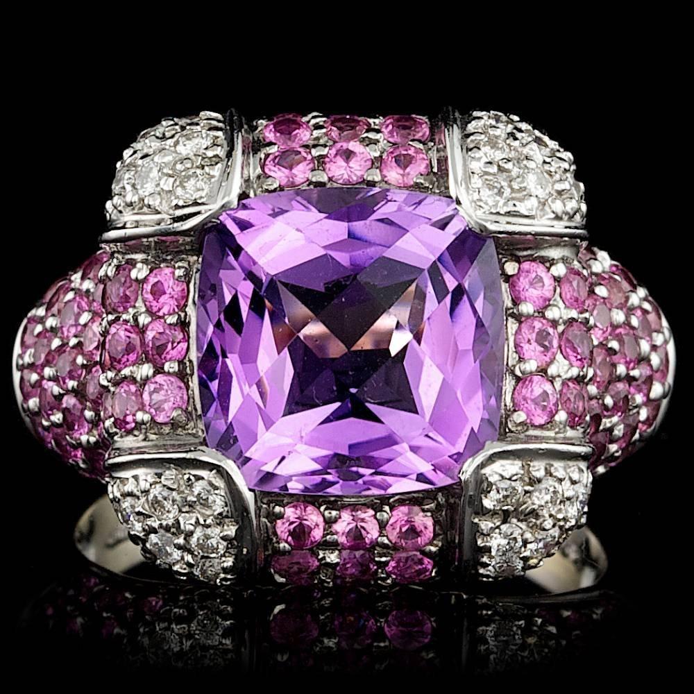18k Gold 4.70ct Amethyst 0.29ct Diamond Ring