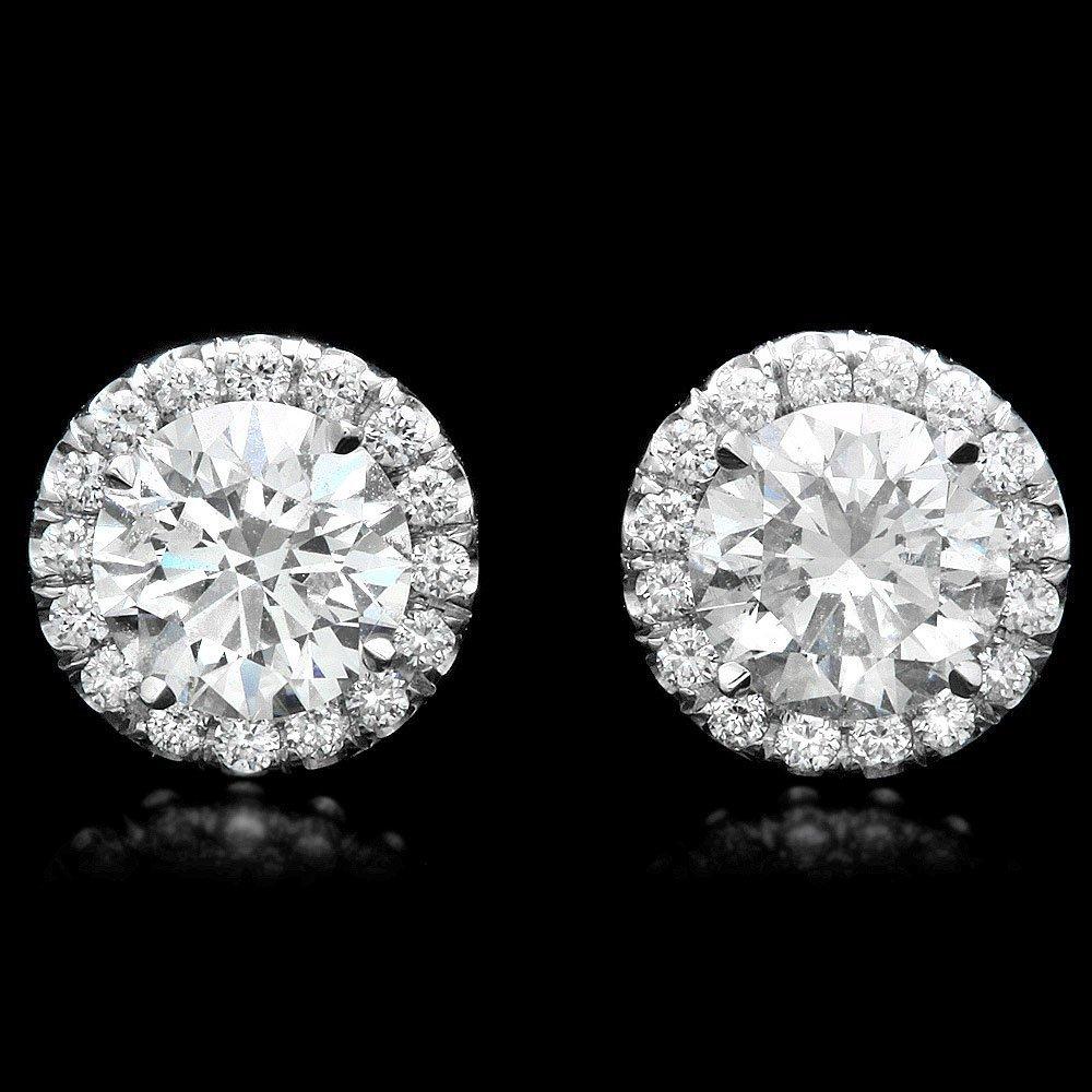 14k White Gold .92ct Diamond Earrings