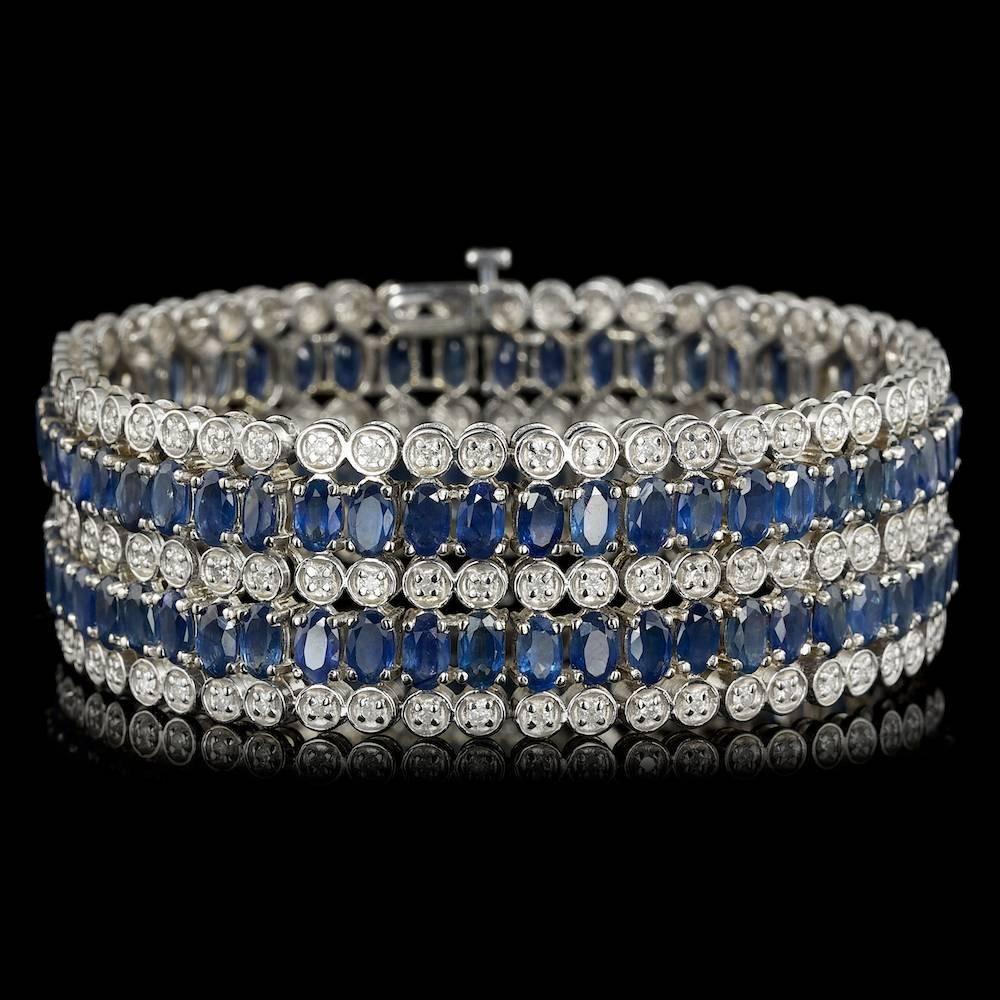 14k Gold 30.00ct Sapphire 2.50ct Diamond Bracelet