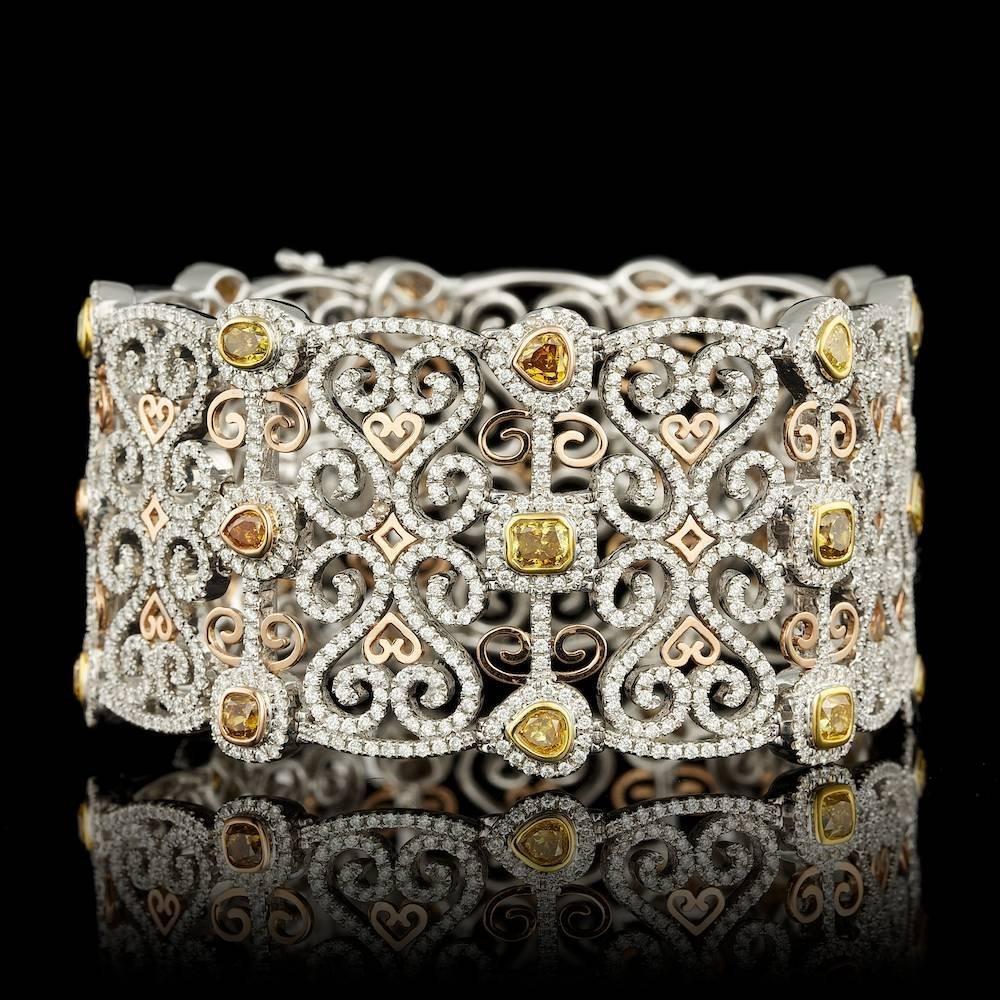 18k Multi-Tone Gold 15.91ct Diamond Bracelet