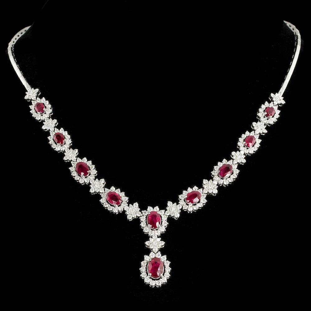 14k Gold 10.20ct Ruby 7.07ct Diamond Necklace