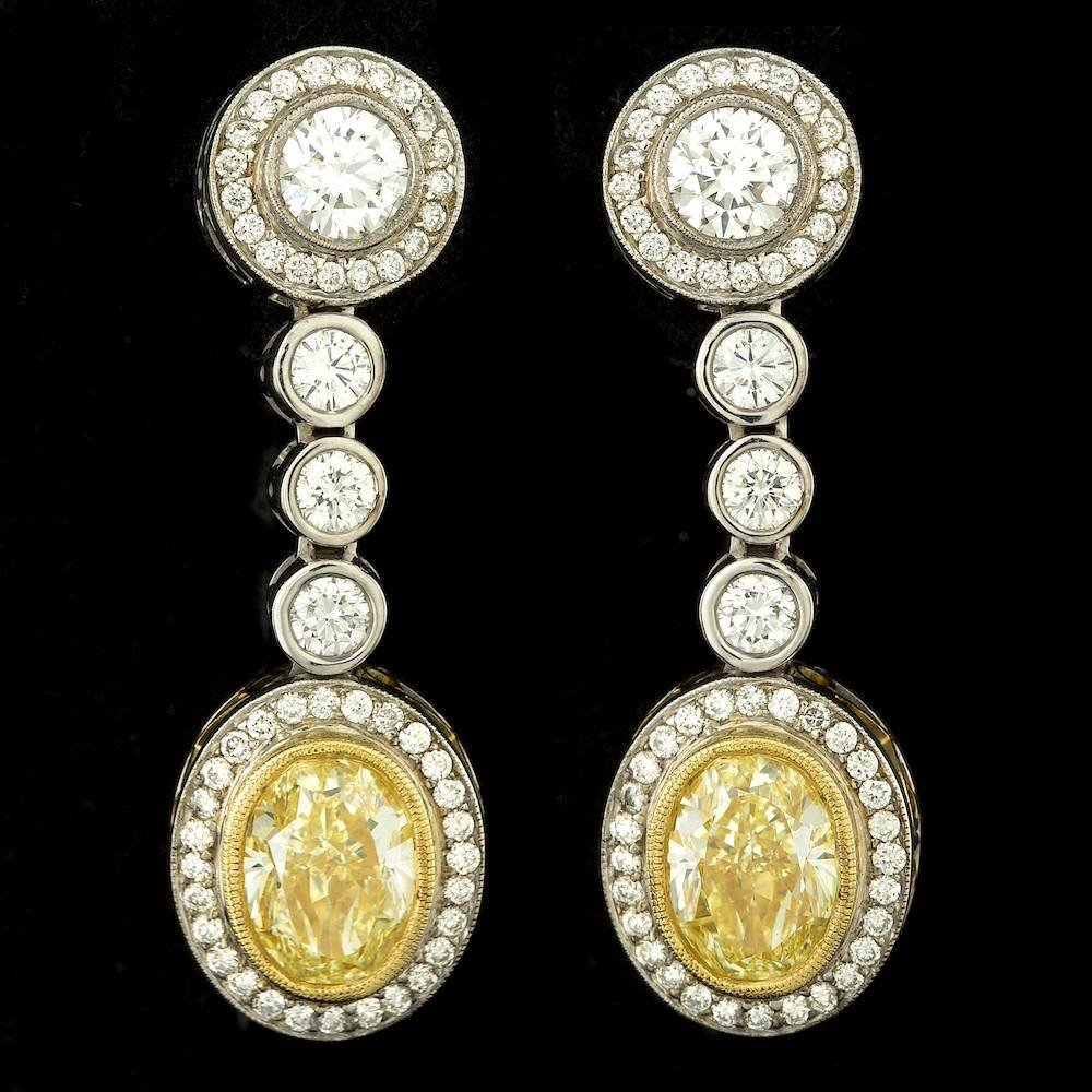18k Multi-Tone Gold 6.91ct Diamond Earrings