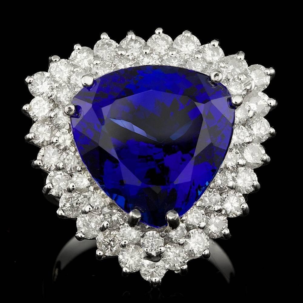 14k Gold 16.70ct Tanzanite 3.00ct Diamond Ring