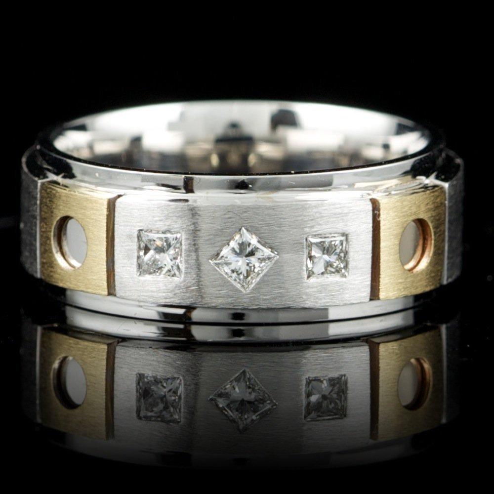 14k Multi-Tone Gold 0.30ct Diamond Mens Ring