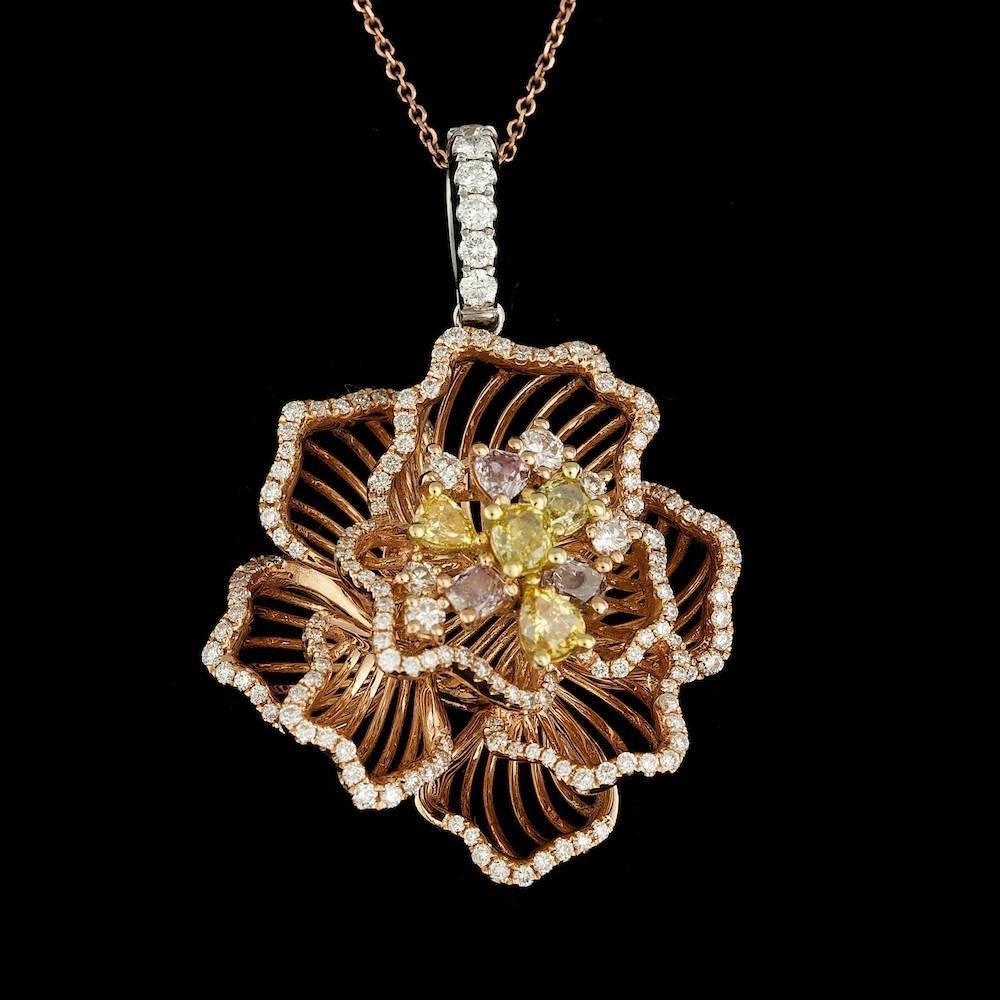 18k Multi-Tone Gold 1.97ct Diamond Pendant