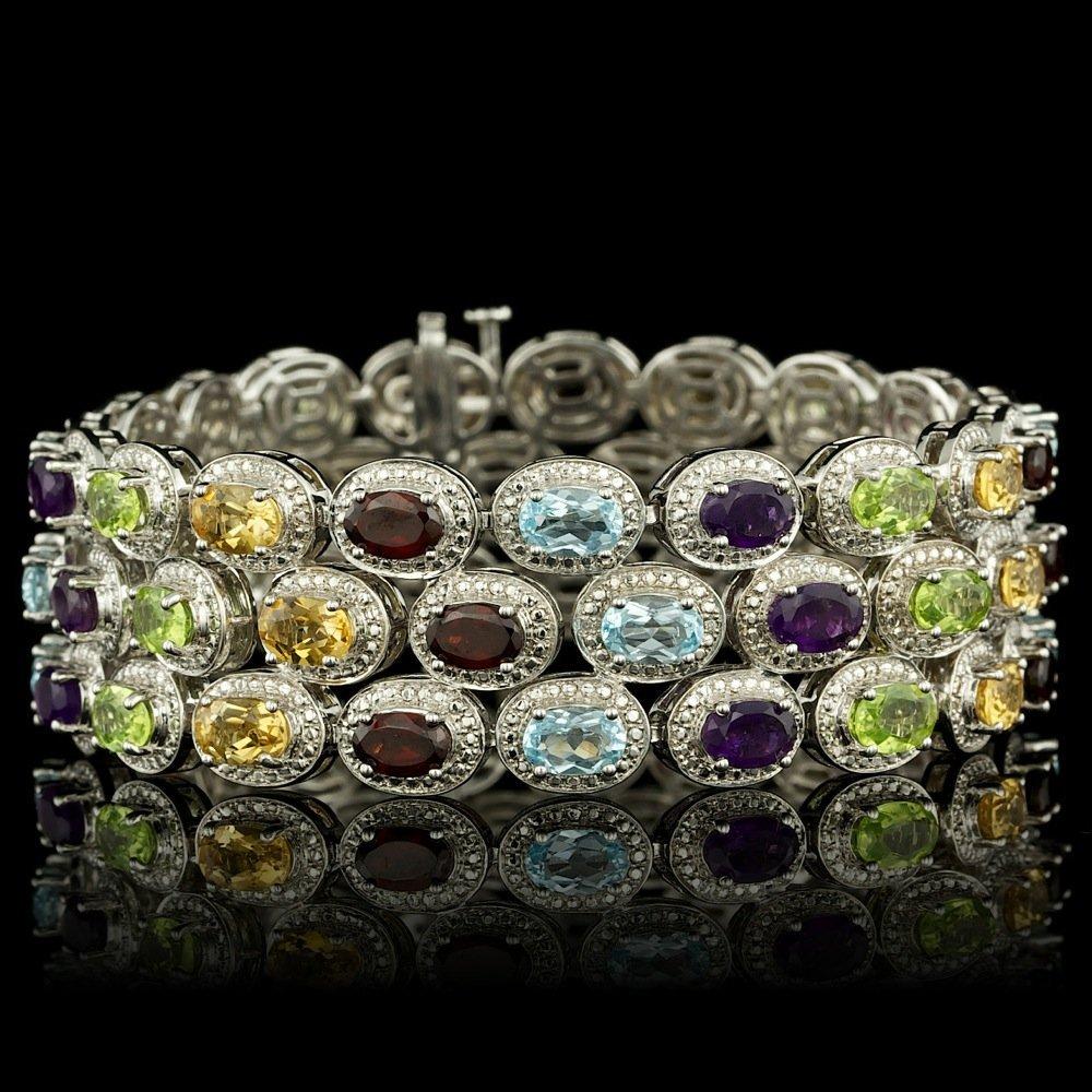 925 Sterling Silver 25.50ct Semiprecious Bracelet