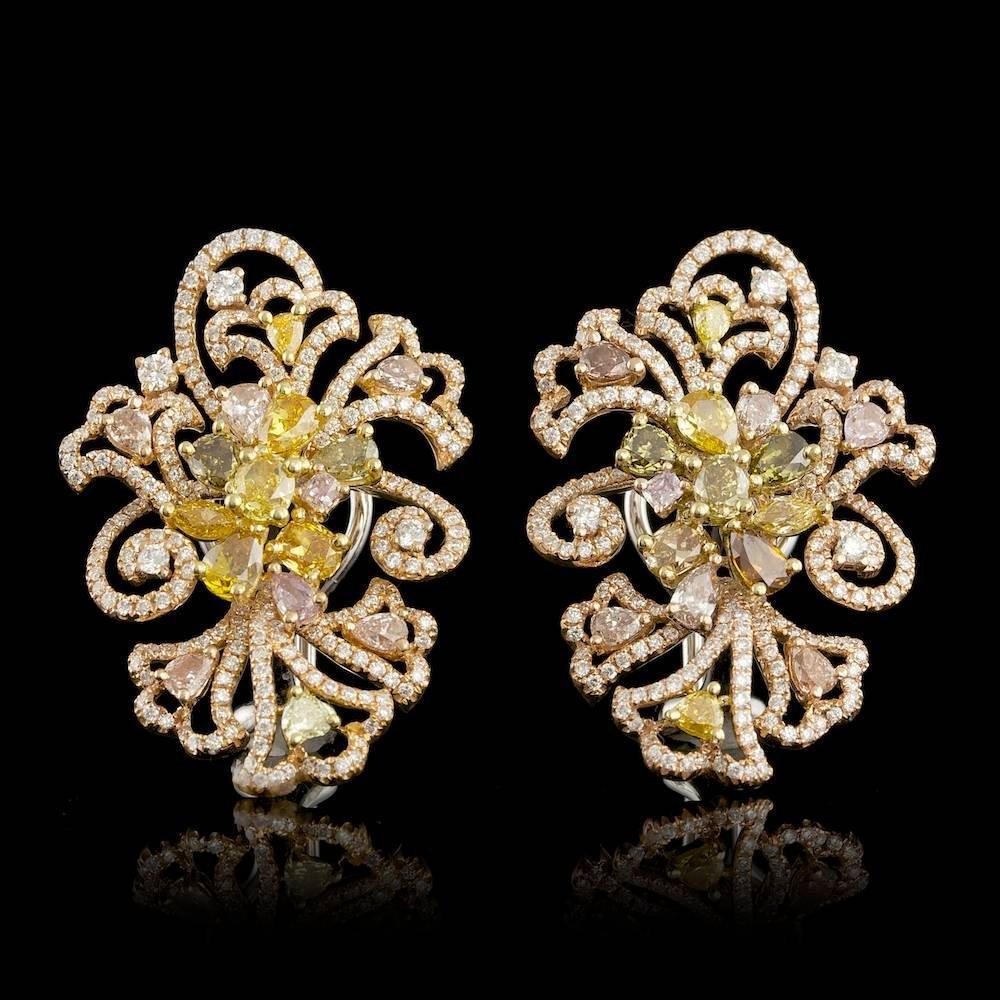 18k Multi-Tone Gold 6.29ct Diamond Earrings