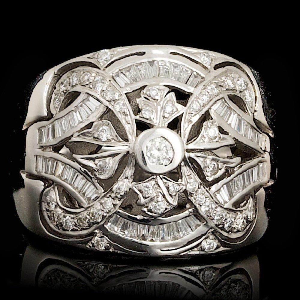 14k White Gold .83ct Diamond Ring
