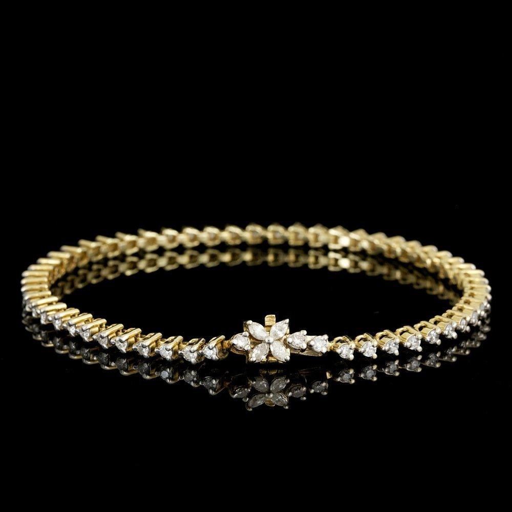 14k Yellow Gold 2ct Diamond Bracelet