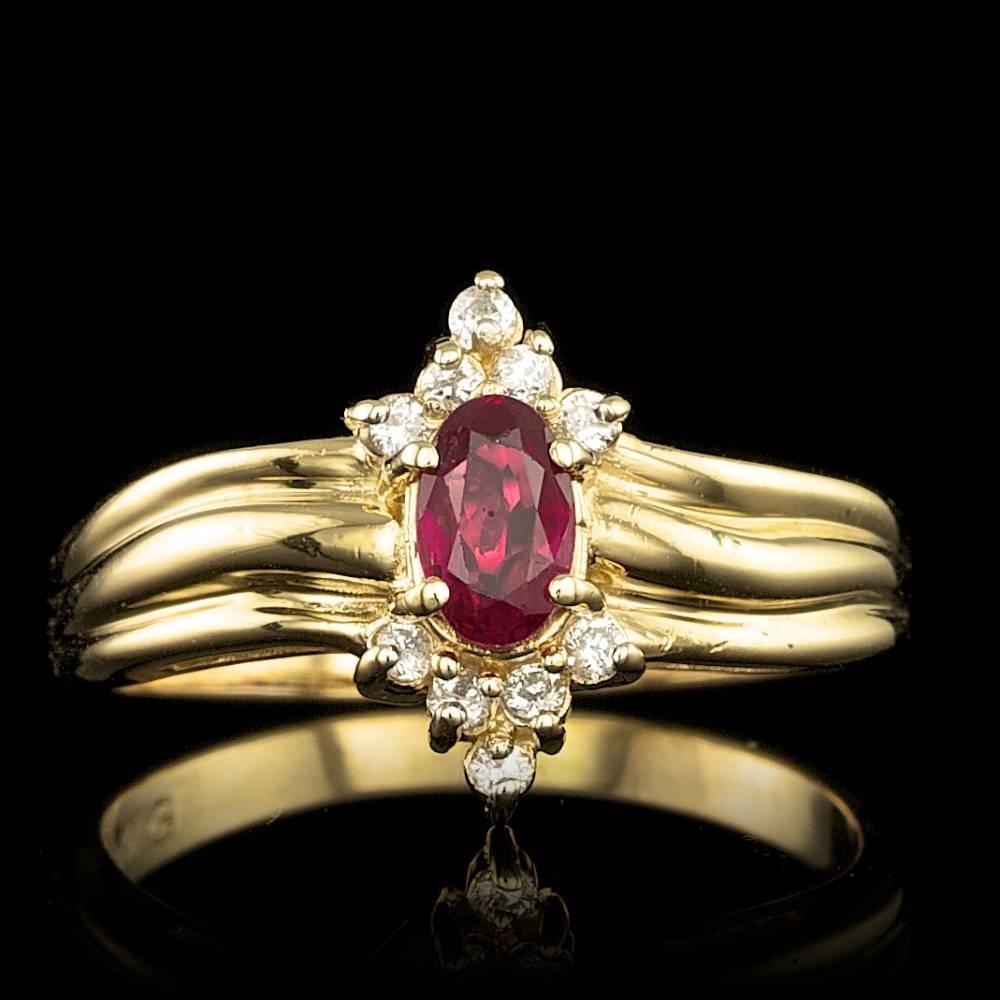 14k Yellow Gold 0.60ct Ruby 0.15ct Diamond Ring