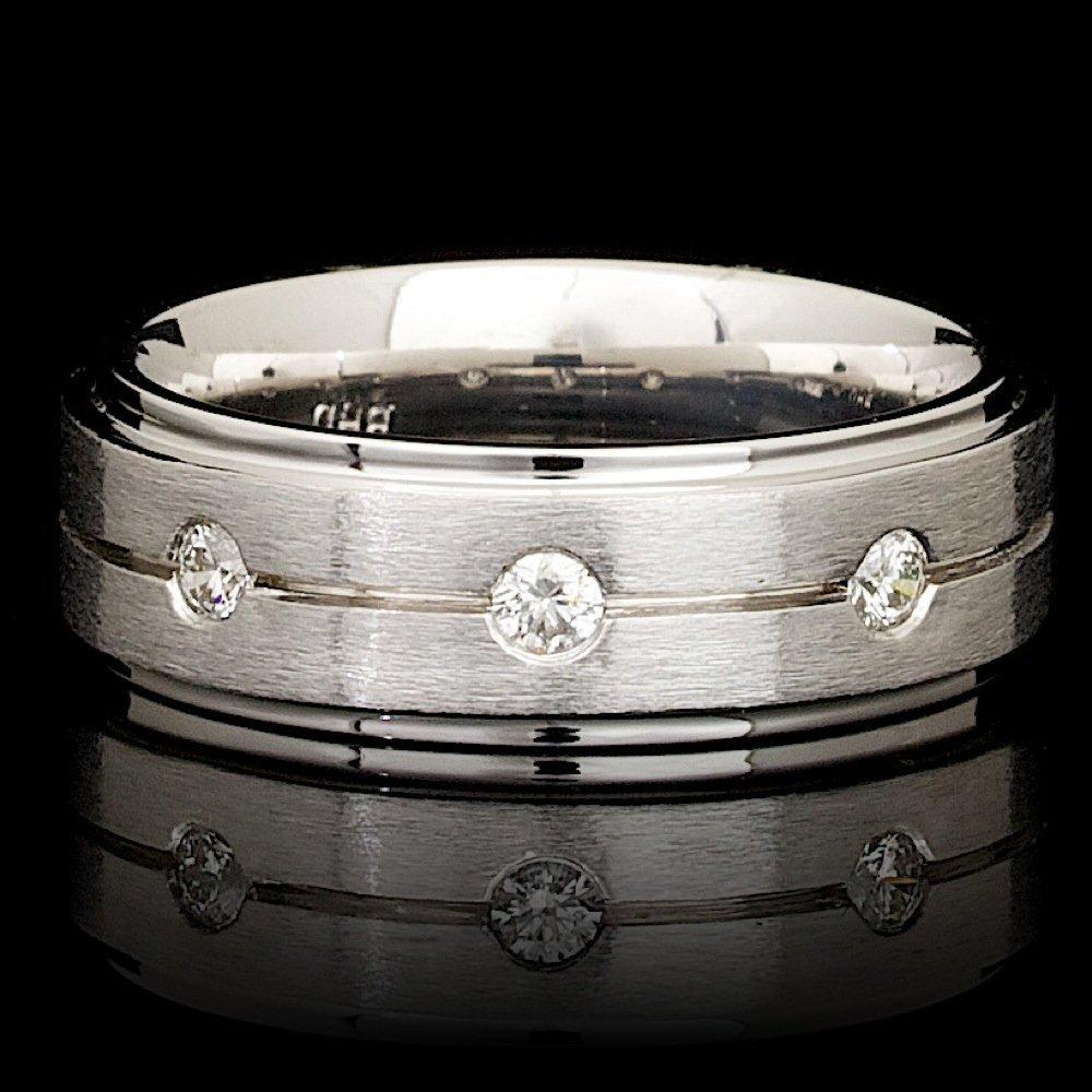 14k White Gold 0.25ct Diamond Mens Ring