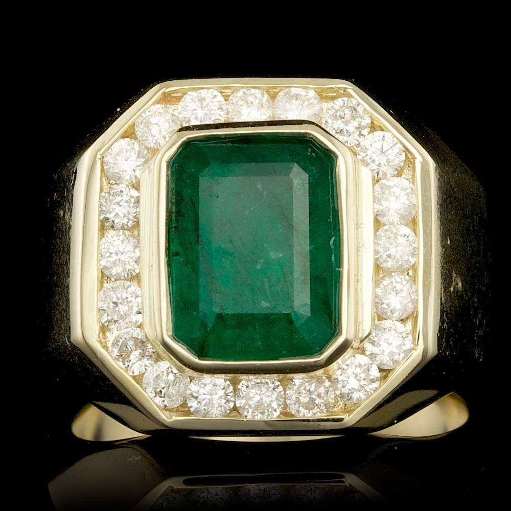 14k Gold 3.70ct Emerald 1.25ct Diamond Mens Ring