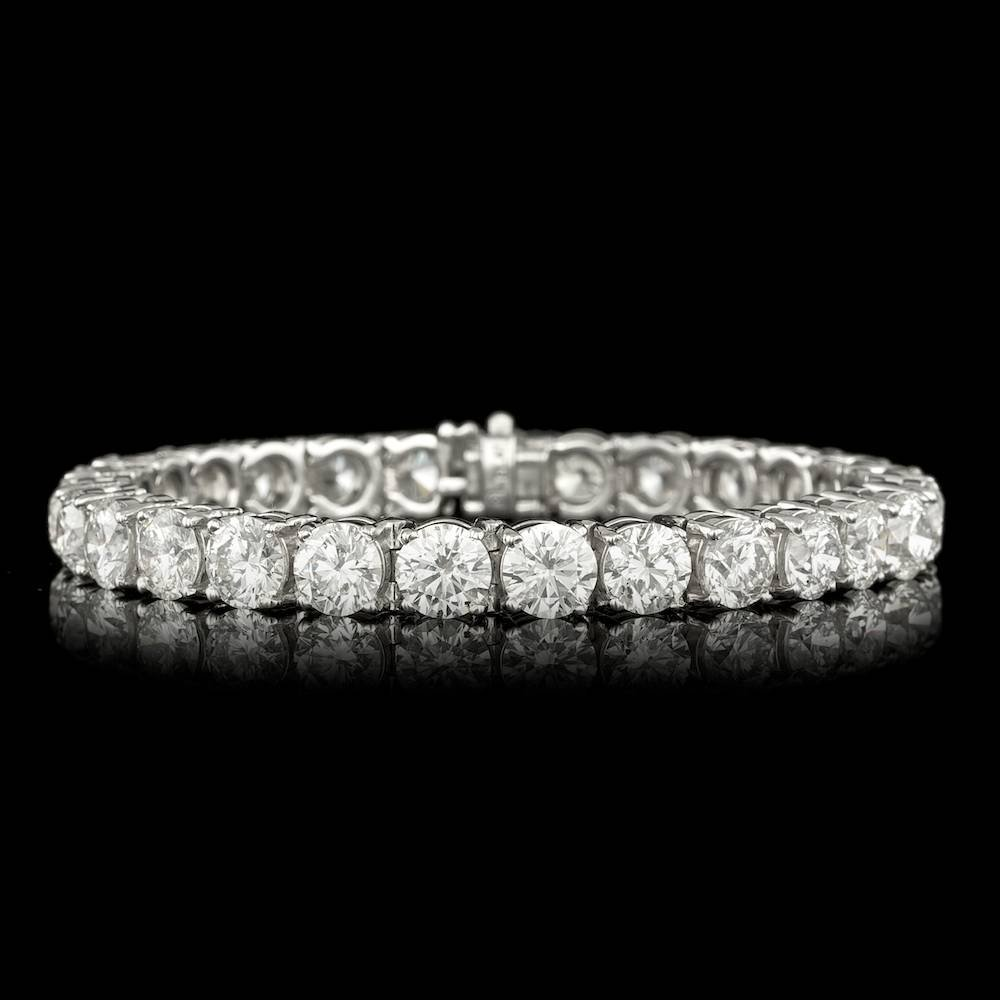 Platinum 28ct G-H Diamond Tennis Bracelet