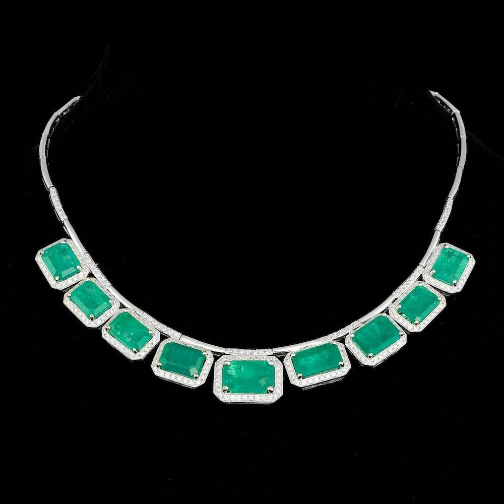 14k Gold 45.17ct Emerald 4.00ct Diamond Necklace