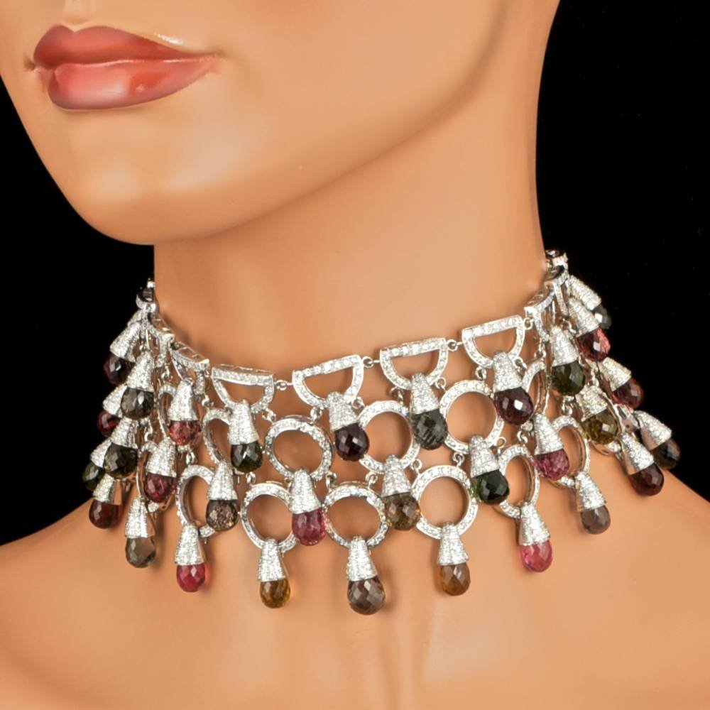 18k 160ct Tourmaline 19.00ct Diamond Necklace