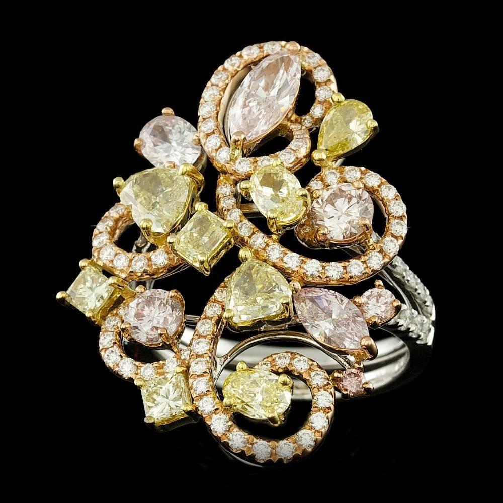 18k Multi-Tone Gold 4.11ct Diamond Ring