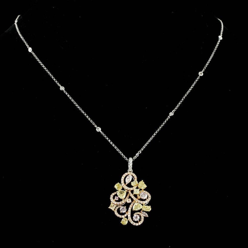 18k Multi-Tone Gold 4.06ct Diamond Pendant