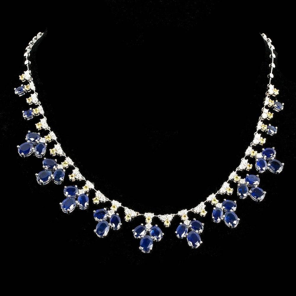 14k Gold 34.58ct Sapphire 2.28ct Diamond Necklace