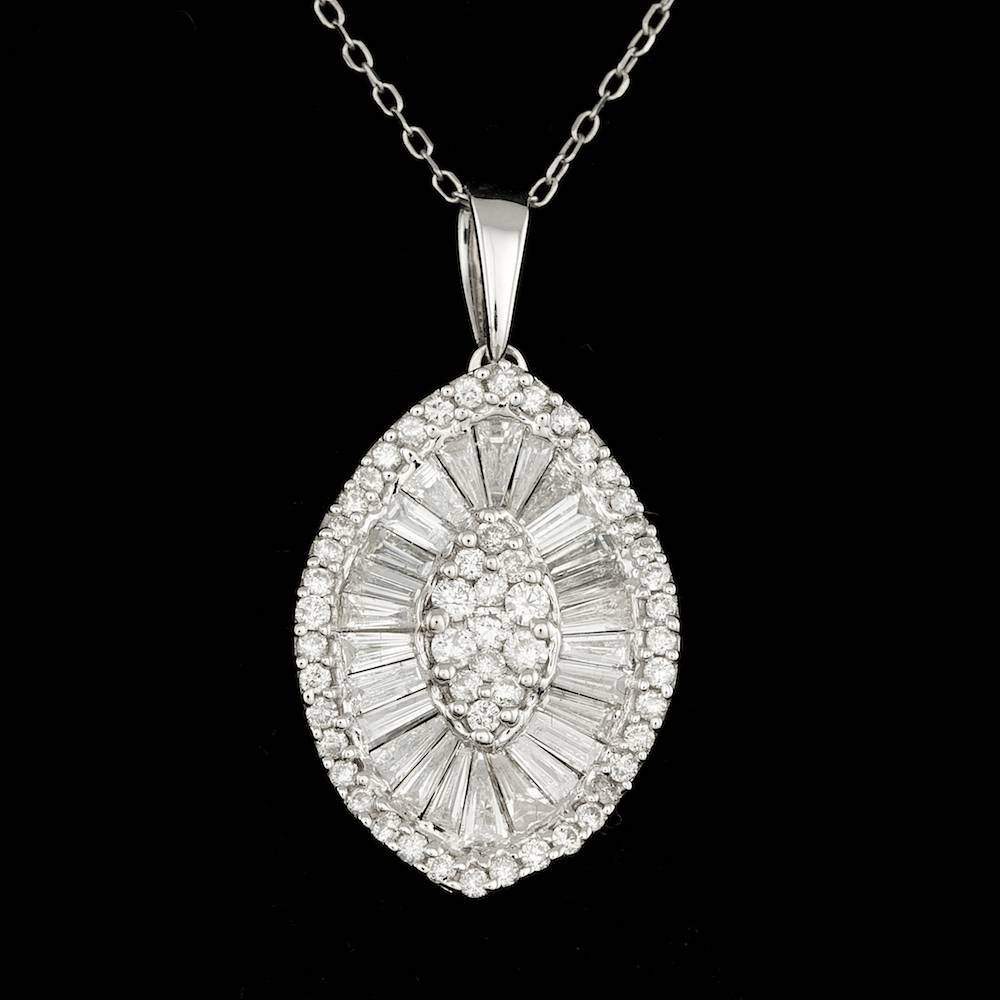 14k White Gold 1.73ct Diamond Pendant