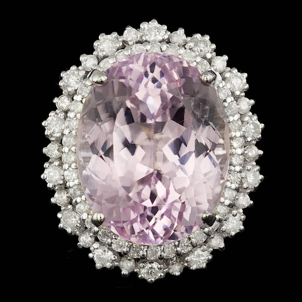 14k Gold 29.00ct Kunzite 1.90ct Diamond Ring