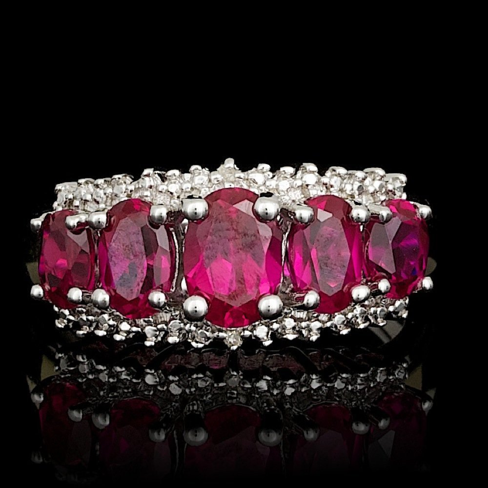 925 Silver 3.50ct Created Ruby & Diamond Ring