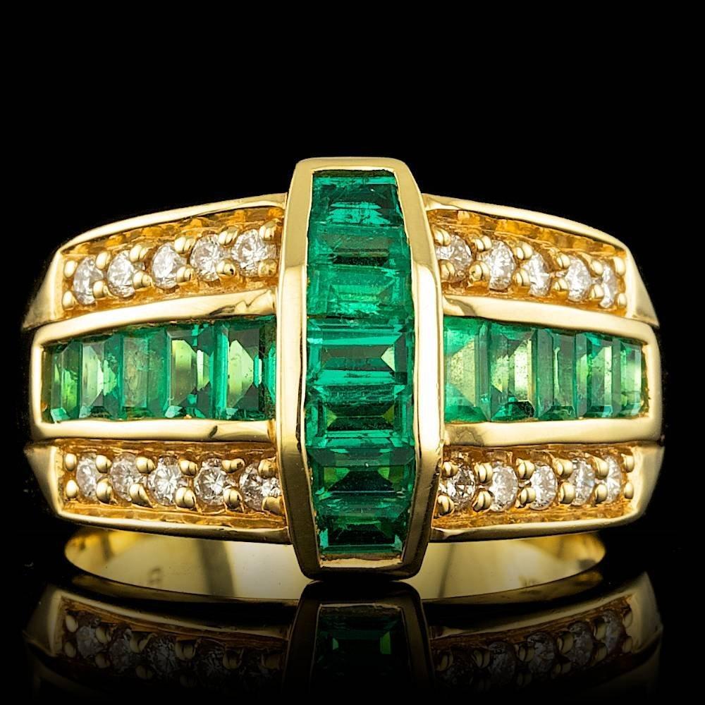 18k Gold 1.25ct Emerald 0.40ct Diamond Ring