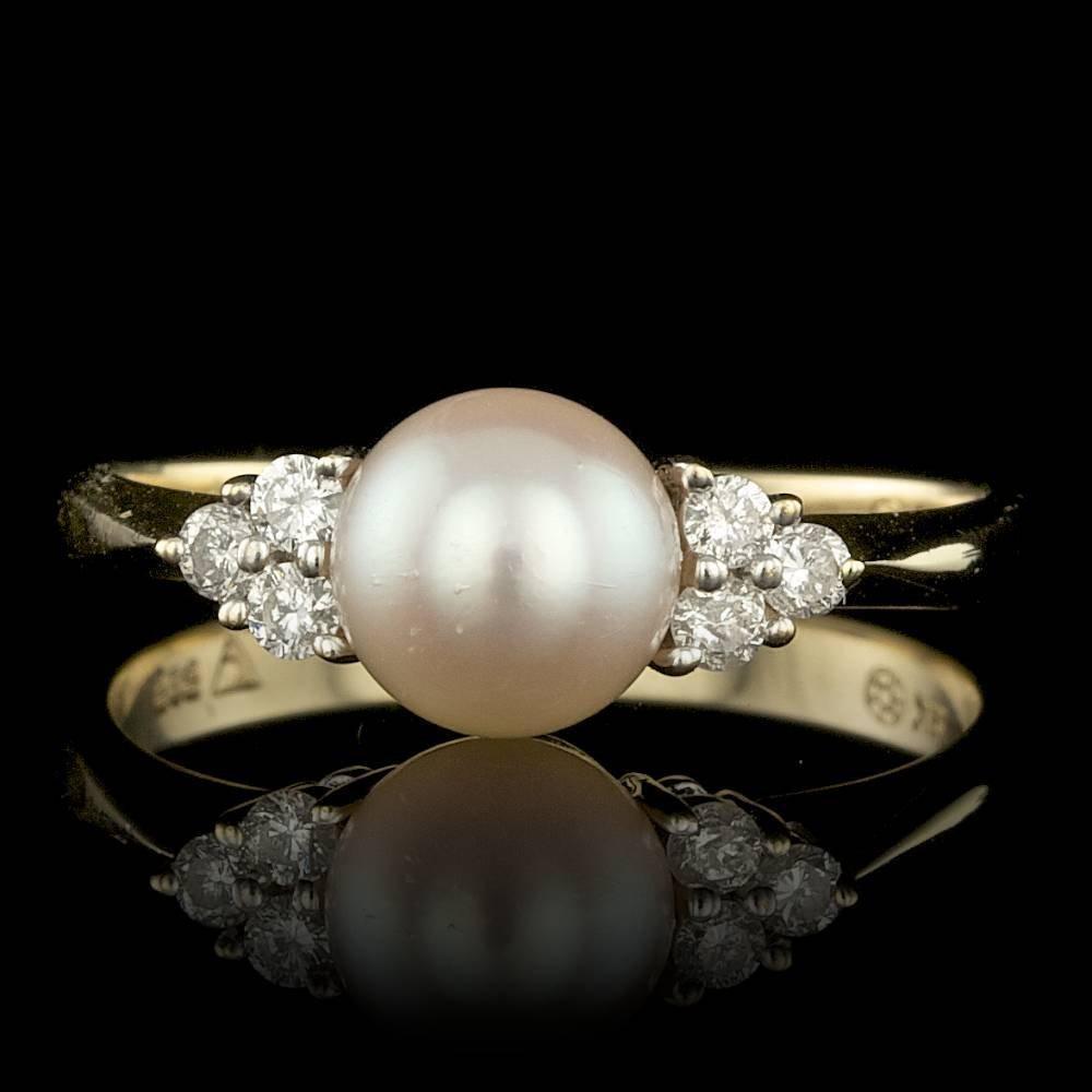 14k Multi-Tone Gold 6mm Pearl 0.18ct Diamond Ring
