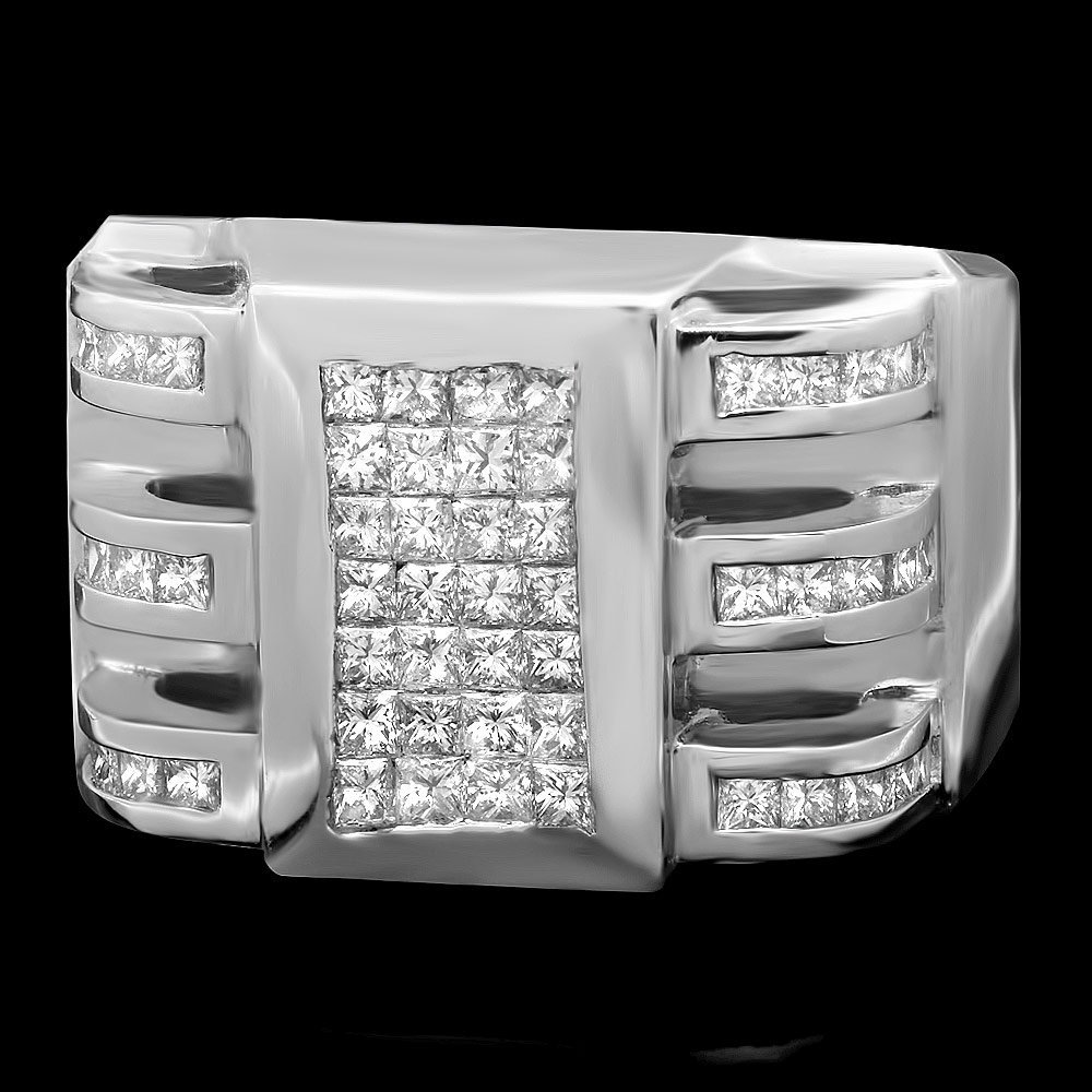 14k White Gold 2.05ct Diamond Mens Ring