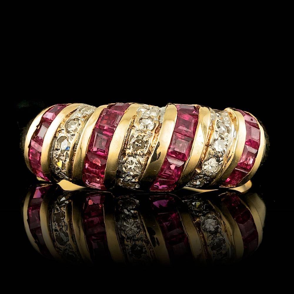 14k Yellow Gold 0.55ct Ruby 0.30ct Diamond Ring
