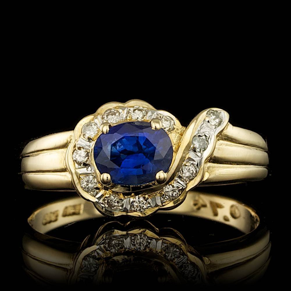 10k Gold 0.60ct Sapphire 0.06ct Diamond Ring