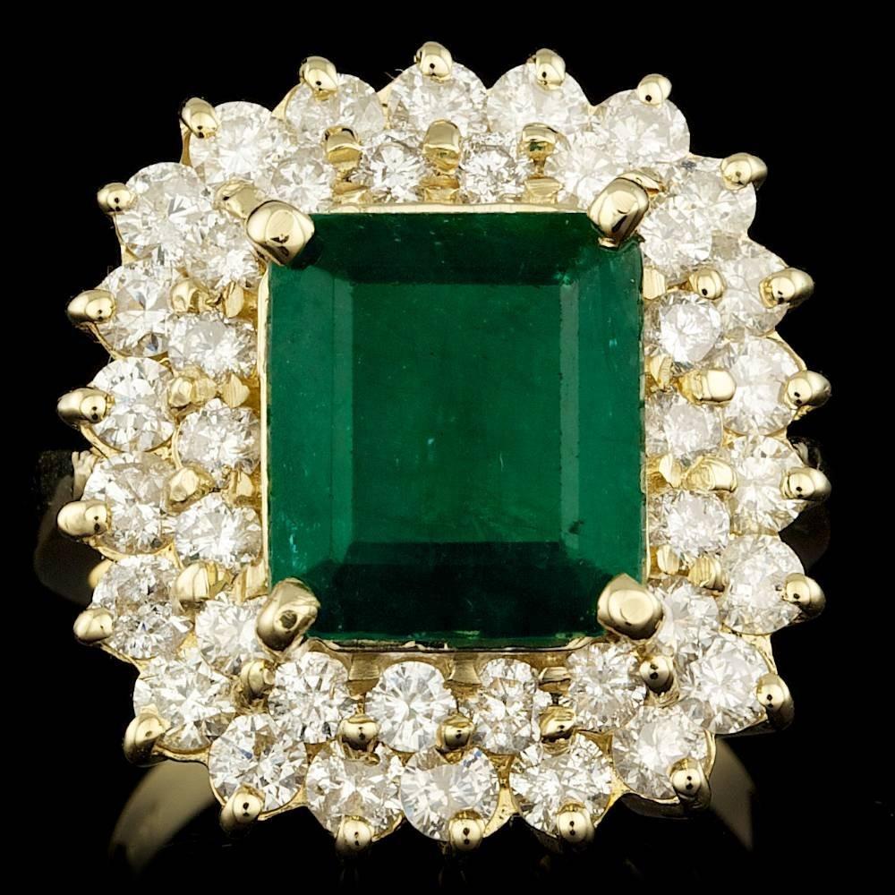 14k Gold 4.40ct Emerald 2.25ct Diamond Ring