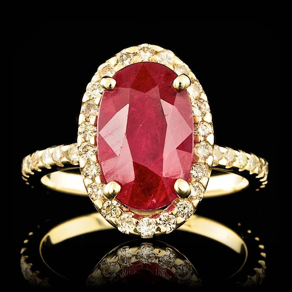 14k Yellow Gold 4ct Untreated Ruby 0.80ct Diamond Ring