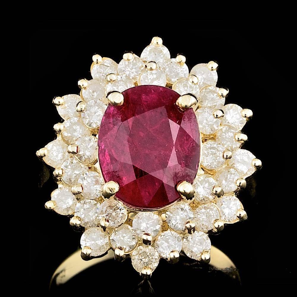 14k Yellow Gold 2.00ct Ruby 2.10ct Diamond Ring