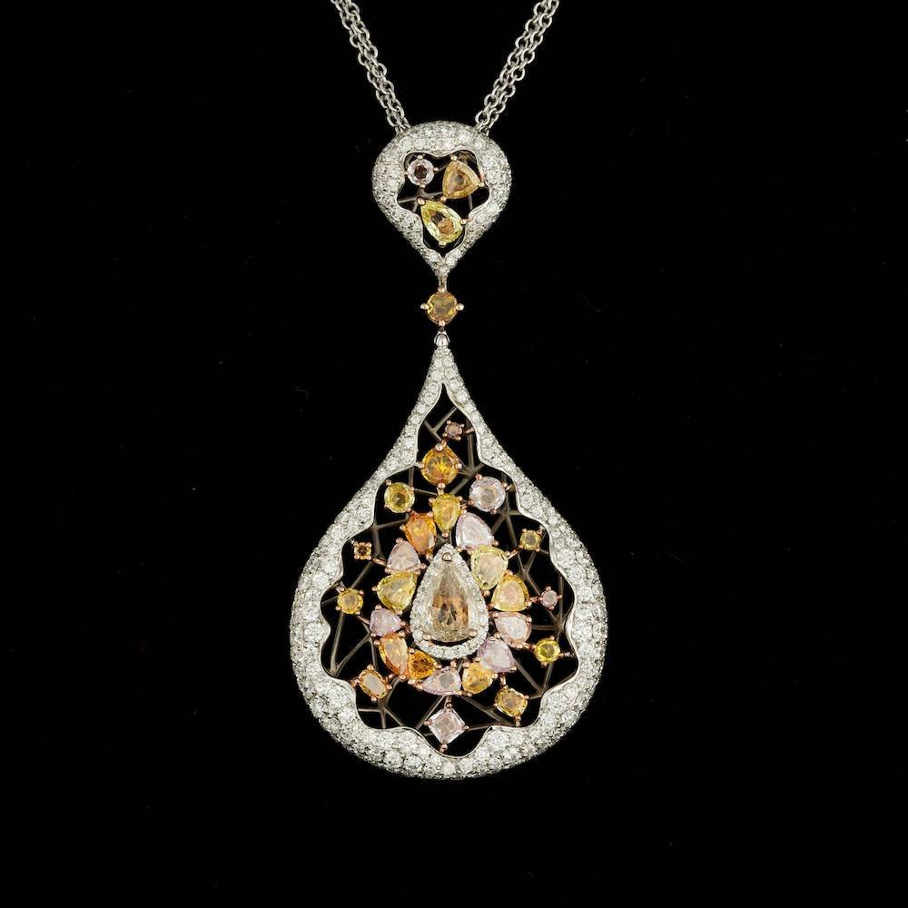 18k Multi-Tone Gold 4.43ct Diamond Pendant