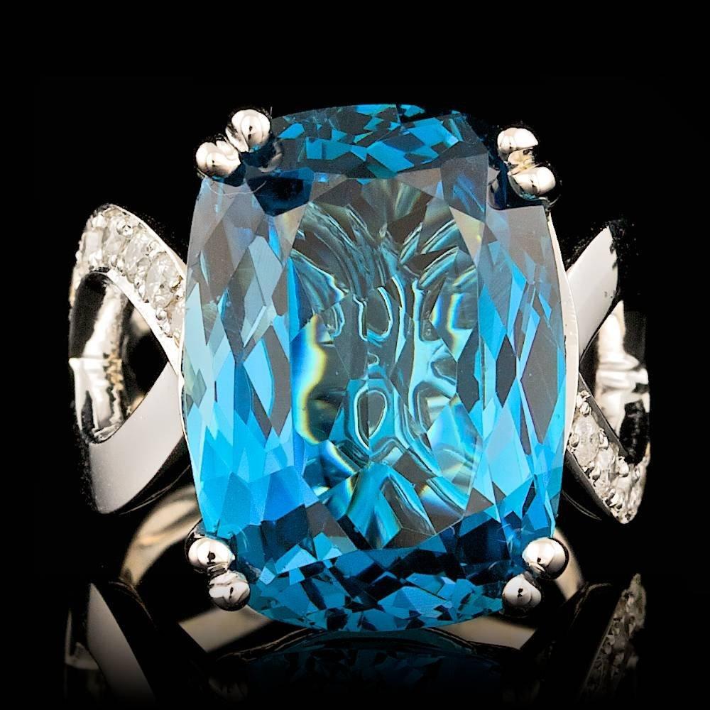 14k White Gold 20.00ct Topaz 0.60ct Diamond Ring