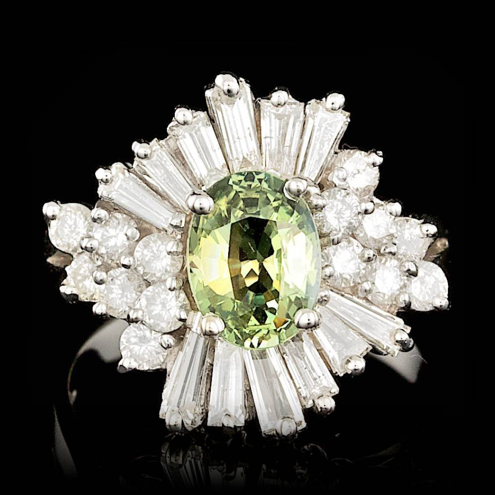14k Gold 1.50ct Alexandrite 1.5ct Diamond Ring